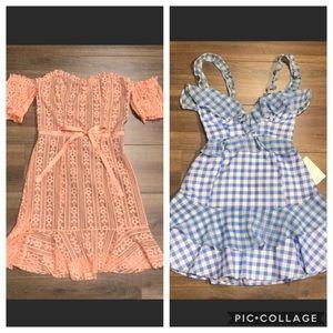 For Love And Lemons Dress Bundle Mini Lace Gingham